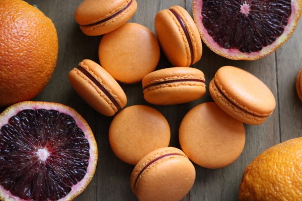 blood orange macarons