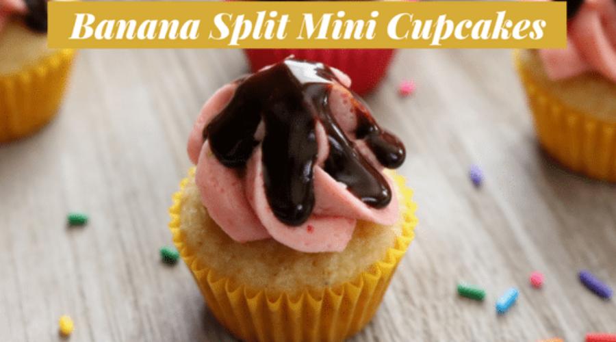 Banana Split Mini Cupcakes