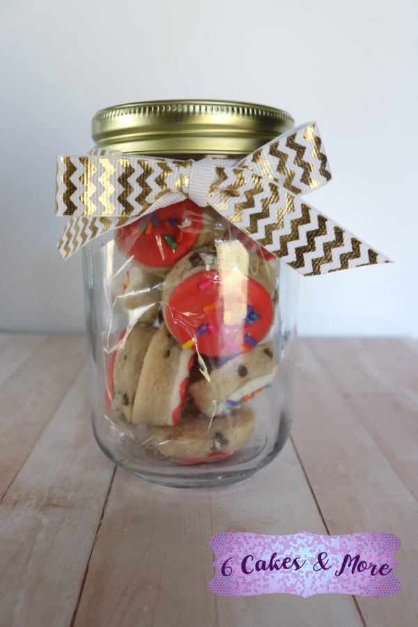 cookie jar of no chill no spread chocolate chip sugar cookies